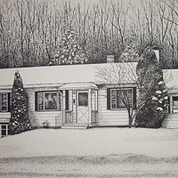 Drawing House Portrait-Cuba, NY by Susan Lynch
