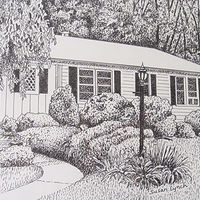 Drawing House Portrait-Connecticut by Susan Lynch