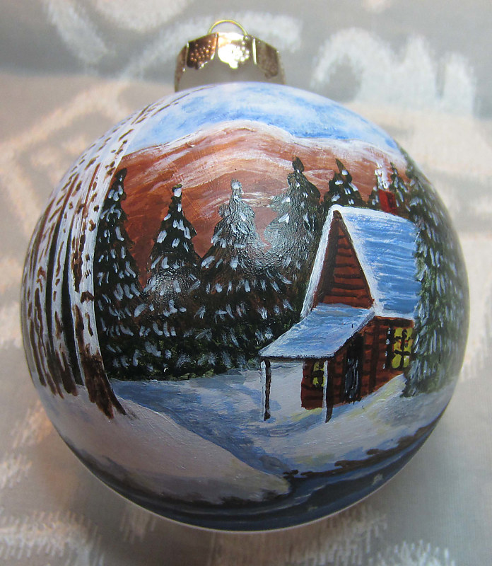 Painting Cabin in Woods Ornament by Susan Lynch