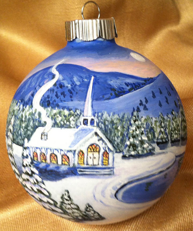 Painting Church winter scene Ornament by Susan Lynch