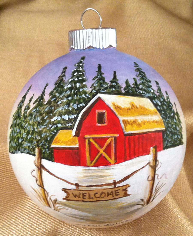 Painting Welcome Red Barn Ornament by Susan Lynch