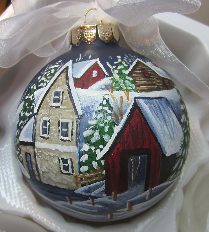 Painting Winter Scene Ornament by Susan Lynch