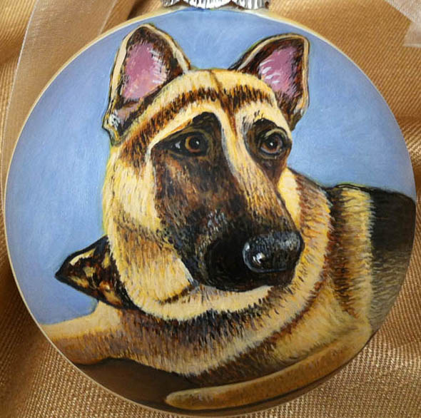 Painting Dog Portrait Ornament by Susan Lynch