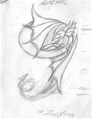 Drawing Dracoserific #9 by Sue Ellen Brown