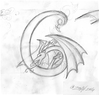 Drawing Dracoserific #6, Thumbnail sketch by Sue Ellen Brown