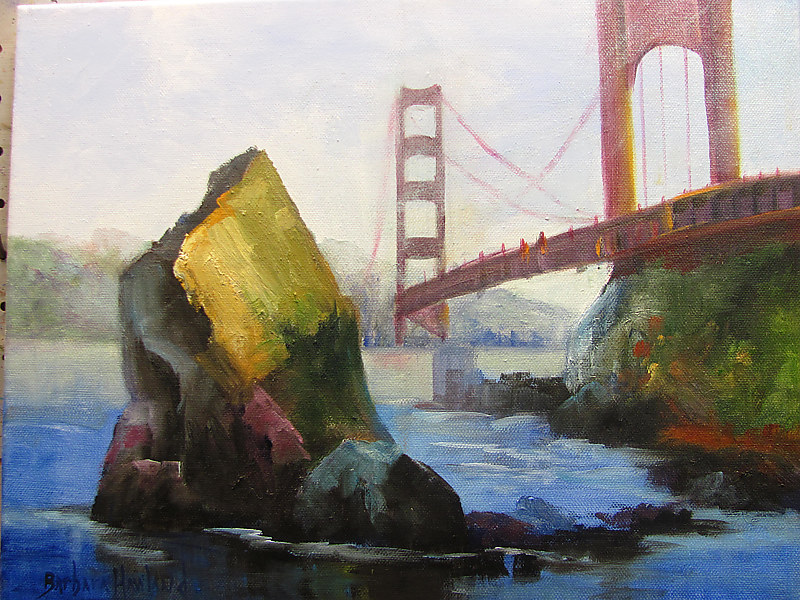 Oil painting  Bridge and Rock by Barbara Haviland