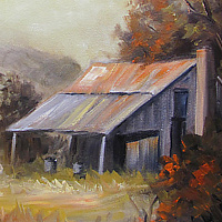Oil painting Cabin in Hill Country by Barbara Haviland