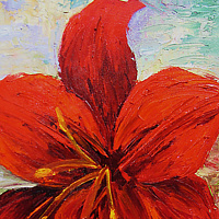 Oil painting  Red Amaryllis  by Barbara Haviland