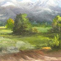 Oil painting  Teton Mountains by Barbara Haviland