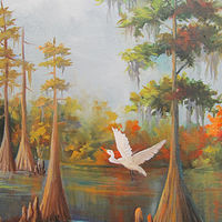 Oil painting Cypress and Egrets  by Barbara Haviland