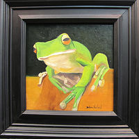 Oil painting Little  Green Frog  by Barbara Haviland