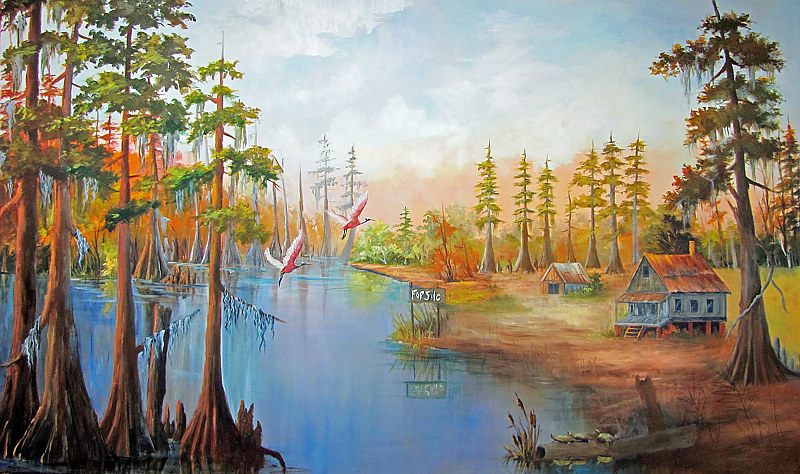 Oil painting  Spoonbills in The Bayou by Barbara Haviland