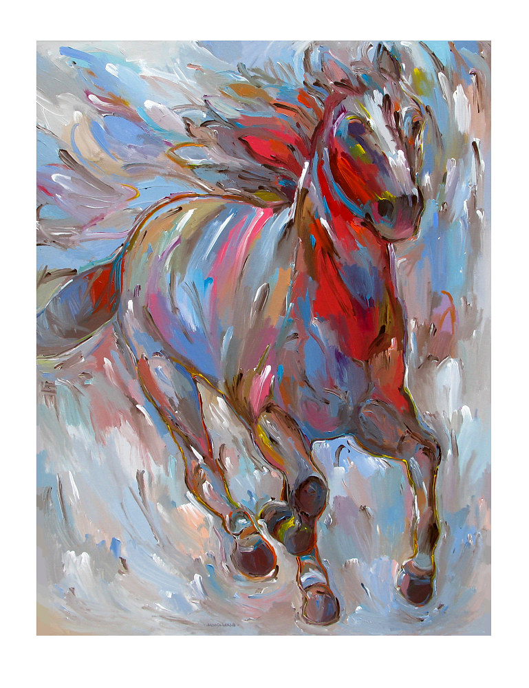 Acrylic painting Horse Power, 36x48 inches by Hooshang Khorasani