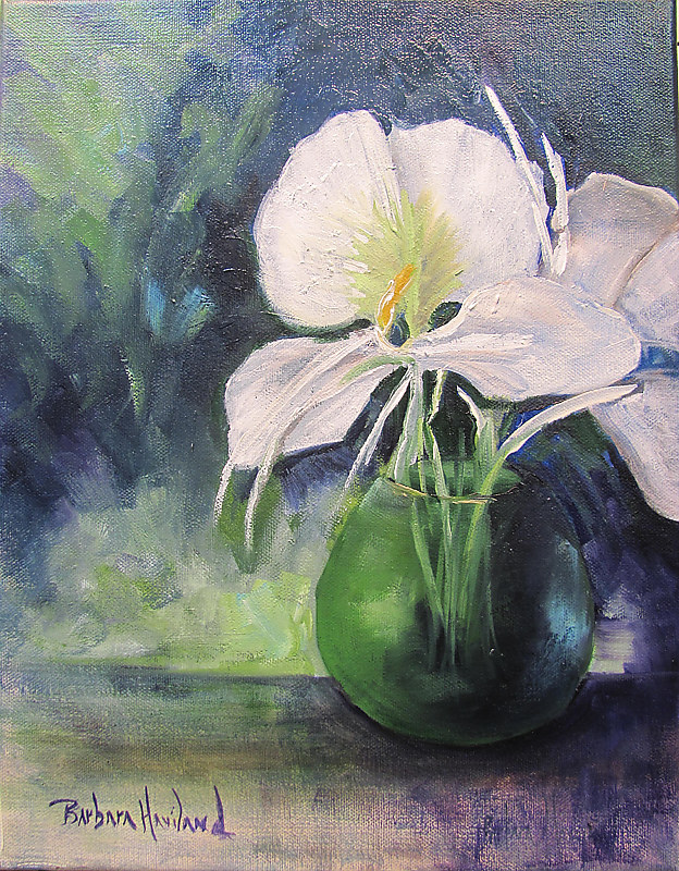 Oil painting Butterfly Lilies in Vase by Barbara Haviland