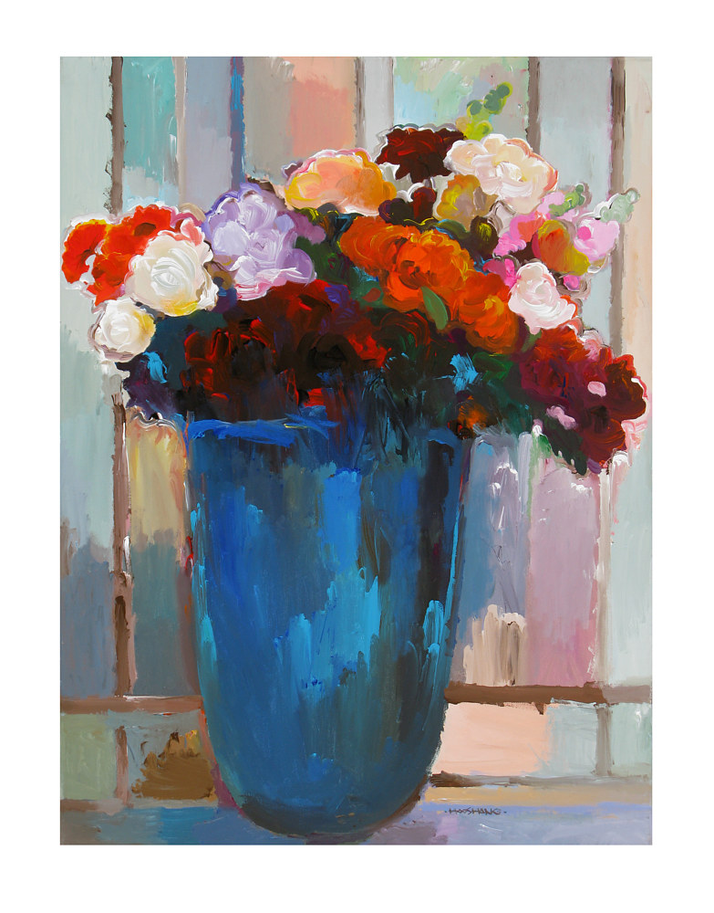 Acrylic painting Bouquet in Blue Vase, 30x40 inches by Hooshang Khorasani