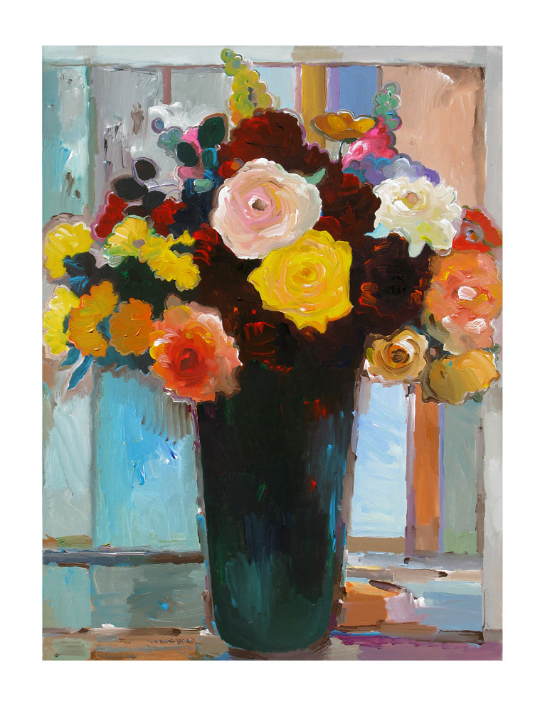 Acrylic painting Classic Bouquet, 24x30 inches by Hooshang Khorasani
