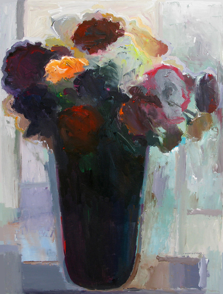 Acrylic painting Dusky Morning Bouquet, 30x40 inches by Hooshang Khorasani
