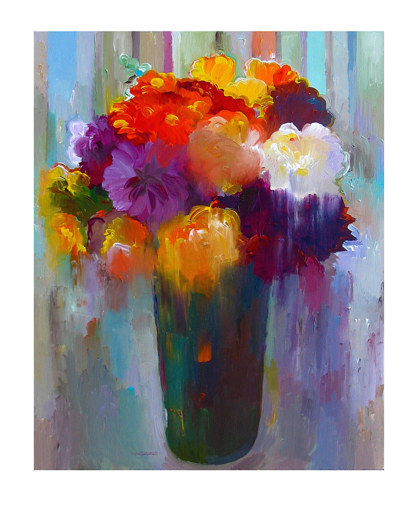 Acrylic painting Enchanting Bouquet, 24x30 inches by Hooshang Khorasani