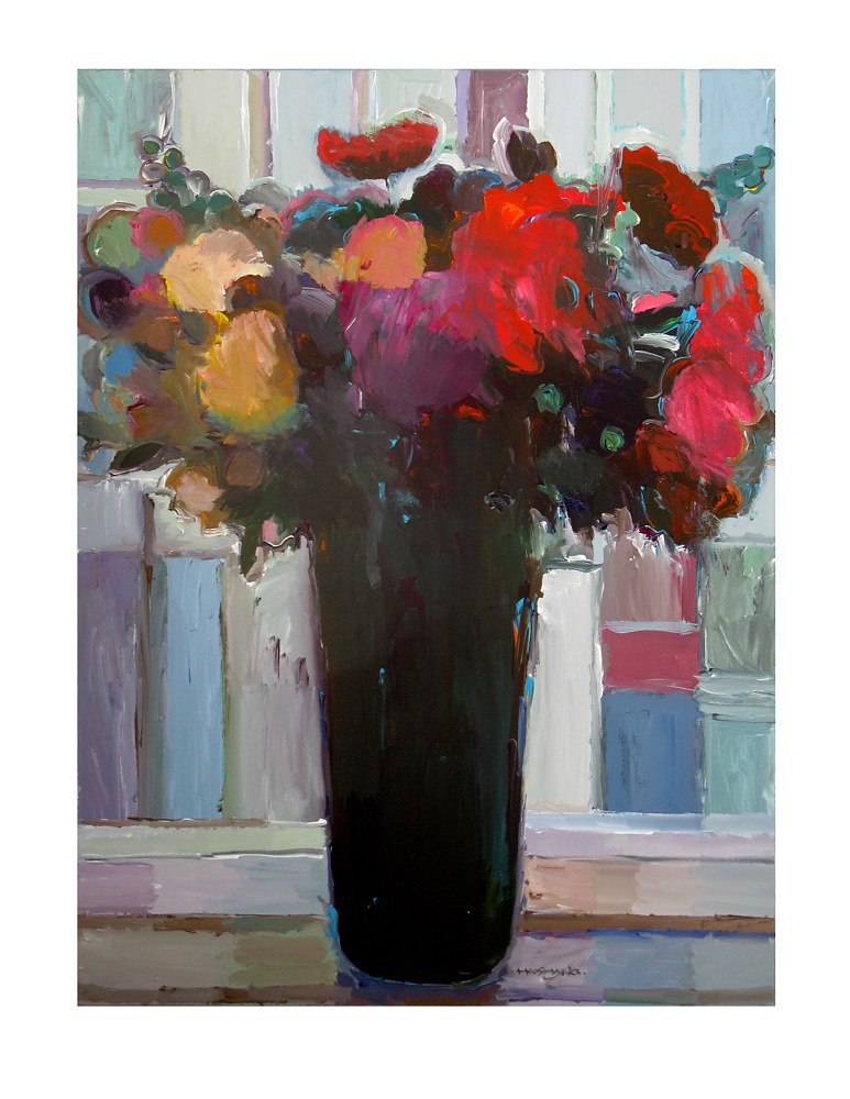 Acrylic painting Evening Bouquet, 30x40 inches by Hooshang Khorasani