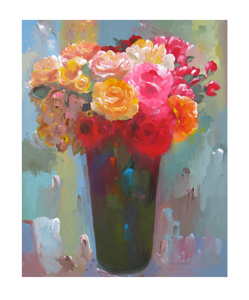 Acrylic painting Love in Bloom, 24x30 inches by Hooshang Khorasani
