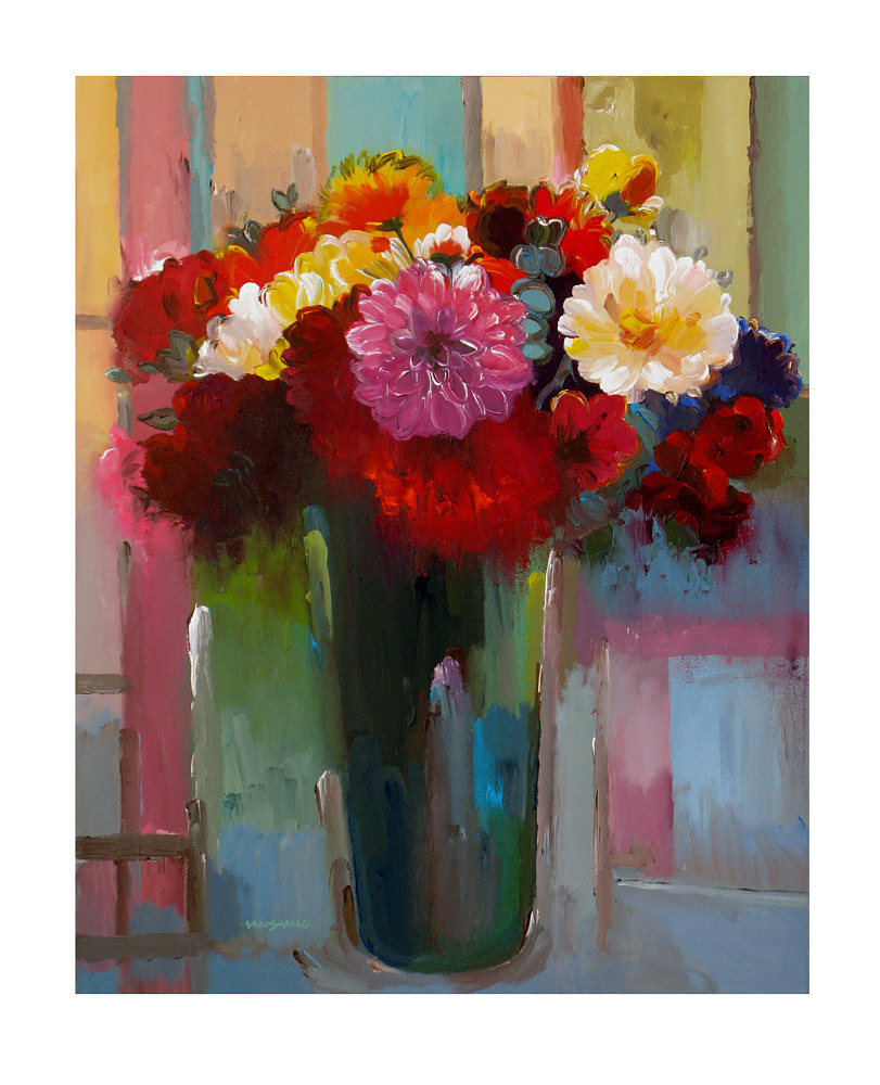 Acrylic painting Spring Bouquet, 24x30 inches by Hooshang Khorasani