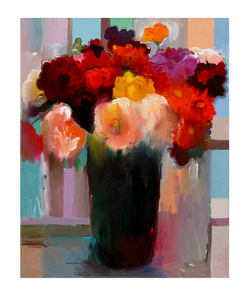 Acrylic painting Smooth Bouquet, 24x30 inches by Hooshang Khorasani