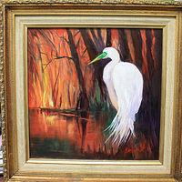 Oil painting Sunset and An Egret by Barbara Haviland