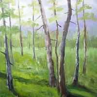 Oil painting Aspens in the Spring by Barbara Haviland
