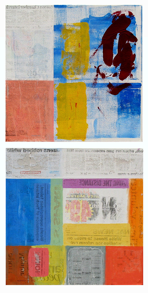 Acrylic painting Yesterday's News, 12x12 inches each by Hooshang Khorasani