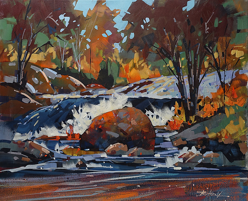 River Rock  Acrylic  24x30   2016 by Brian  Buckrell