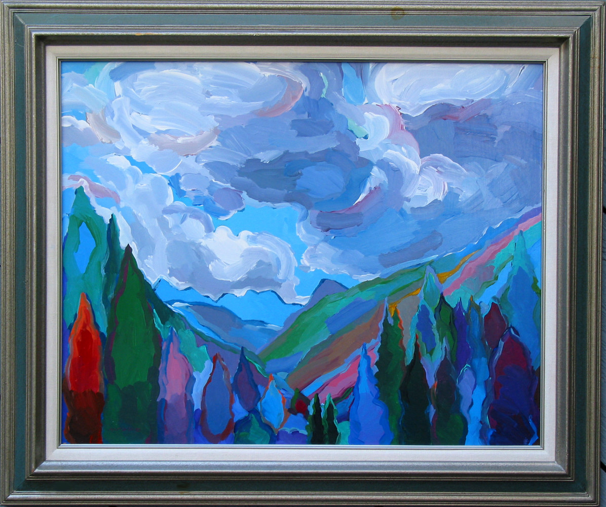 Acrylic painting Colorado Quintessence, 24x30 inches/31x37 with frame by Hooshang Khorasani