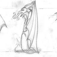 Drawing Dracoserific #1, Thumbnail sketch by Sue Ellen Brown