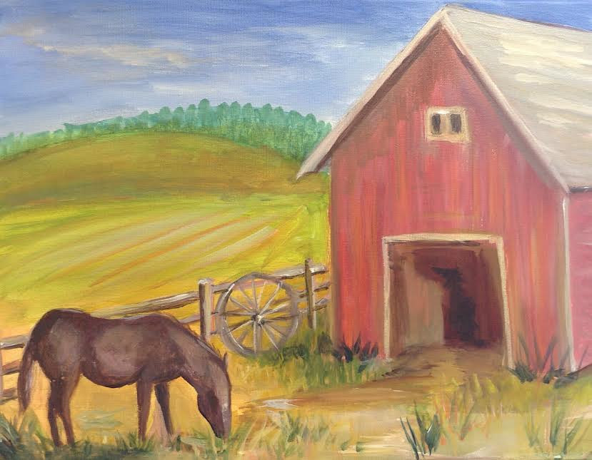 Acrylic painting Horse and Barn  by June Long-schuman