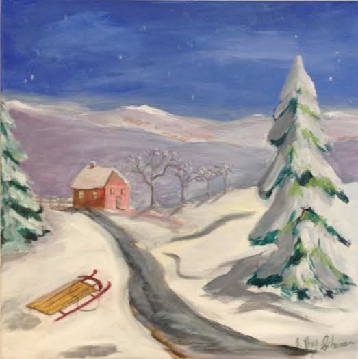 Acrylic painting Winter scene with sled  by June Long-schuman