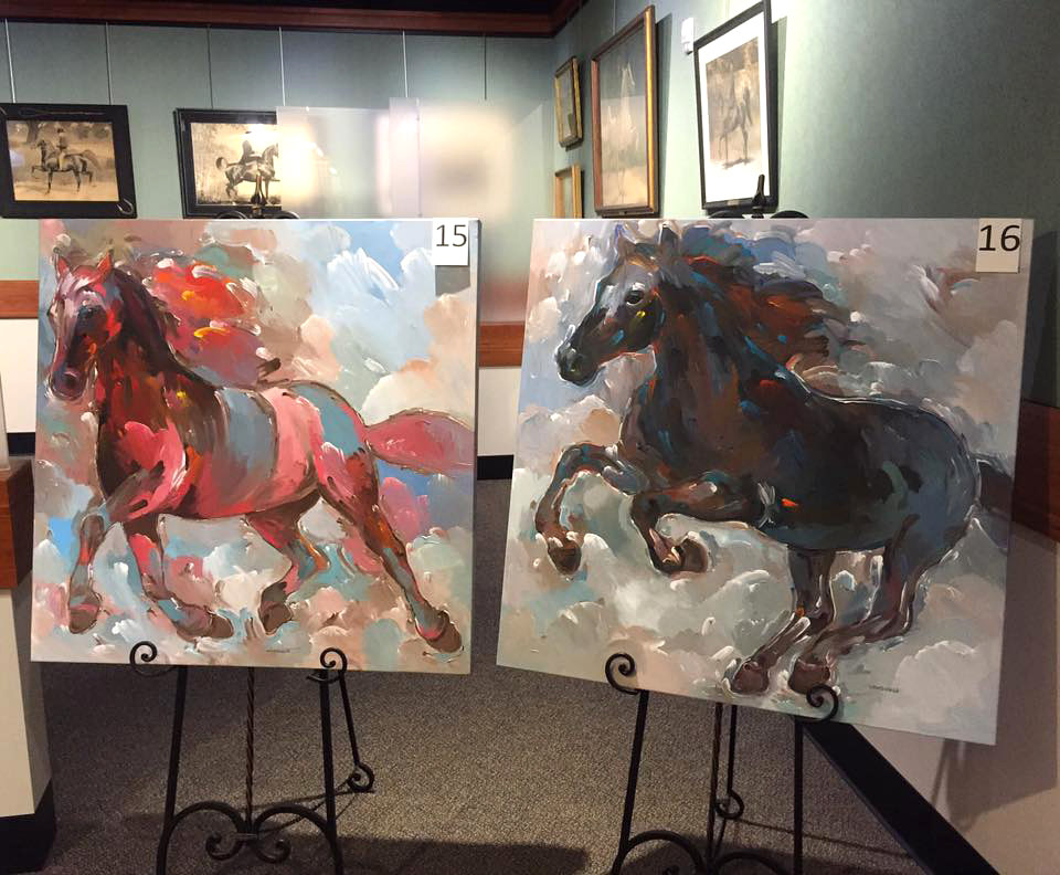 'Red Fiery Runner' & 'Black Knight' at American Saddlebred Museum, Lexington, KY by Hooshang Khorasani