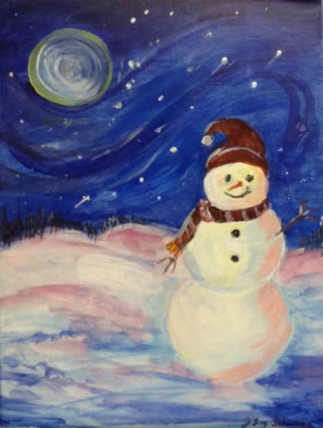 Acrylic painting Magical Snowman  by June Long-schuman