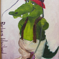 Oil painting  Gator Fishing by Barbara Haviland