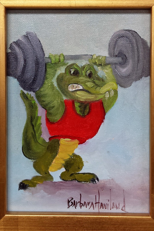 Oil painting  Gator Weight Training by Barbara Haviland