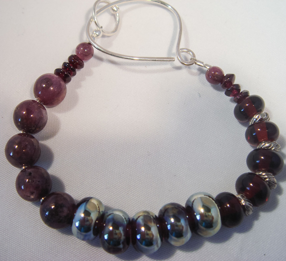 Silvered Metallic Lampwork Focals with Ruby and Garnet Bracelet  #4004  DSC04055_edited by Renee Hennessy