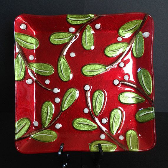Holly Branches Plate by Renee Hennessy