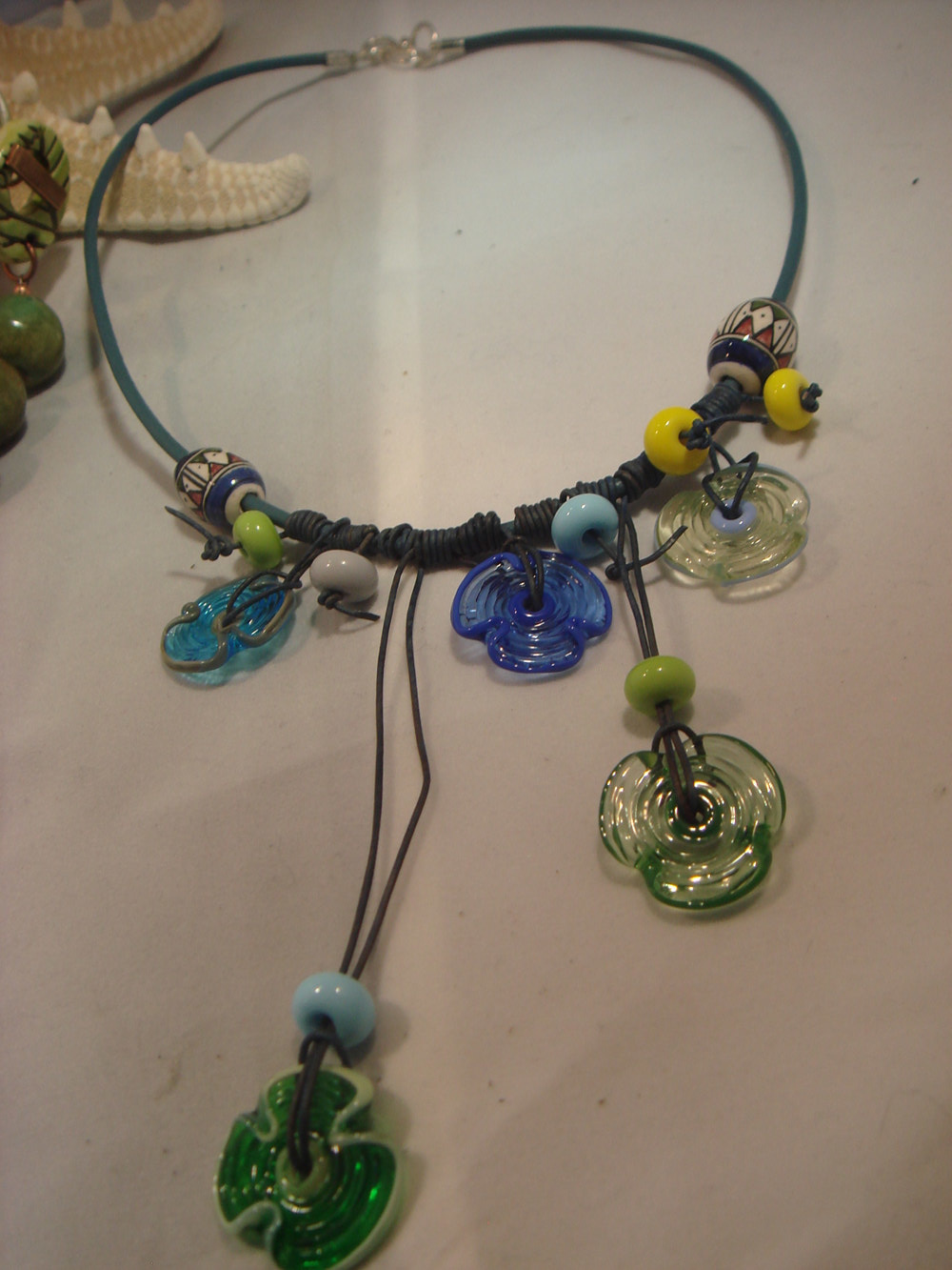 ceramic Artisan Lampwork Disc Leather Necklace by Renee Hennessy
