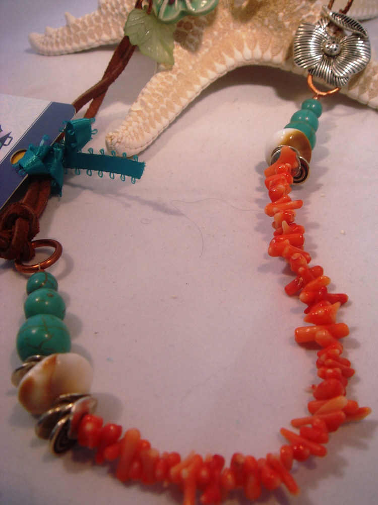 Coral, Turquoise and More Mixed Media Necklace by Renee Hennessy