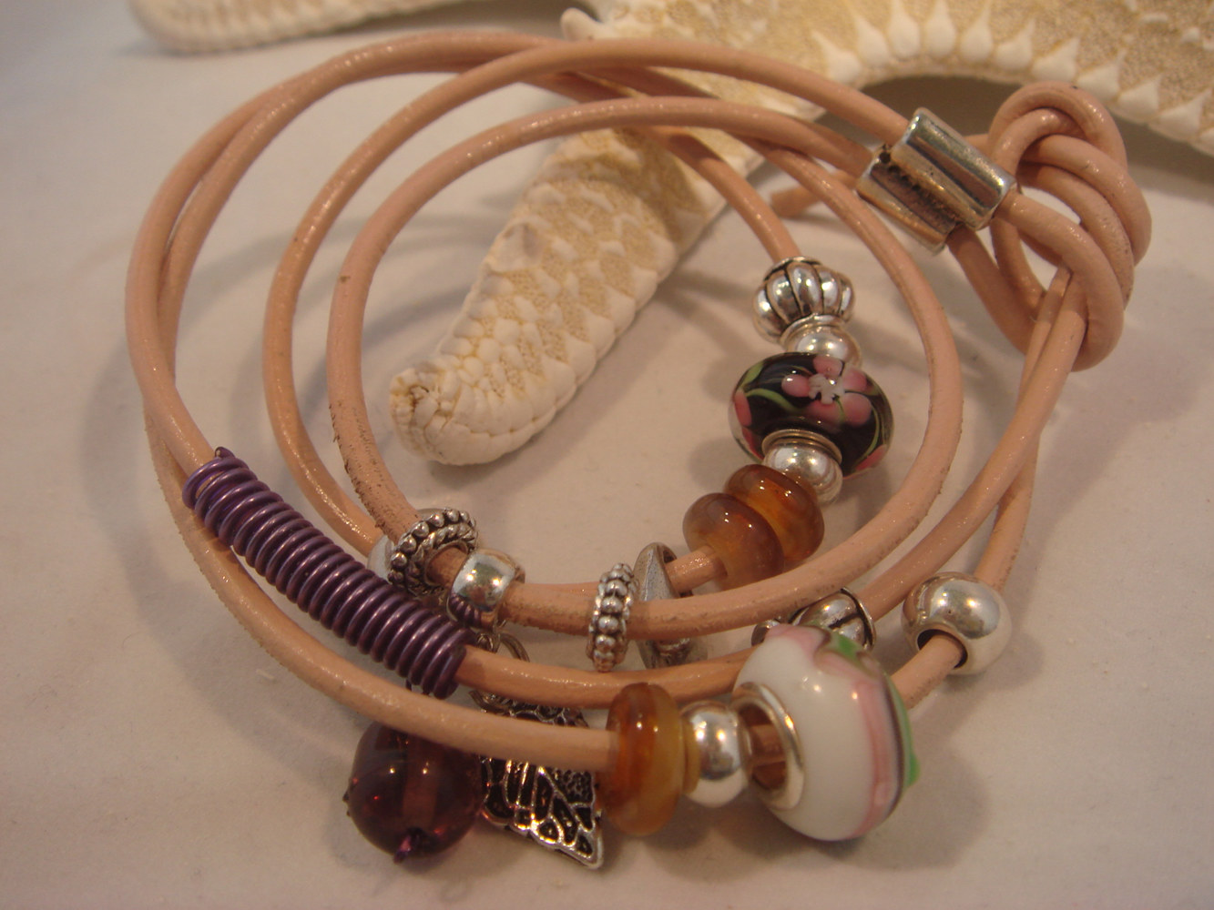 Oil painting Peach Leather Wrap and Knot Bead Charm Bracelet by Renee Hennessy