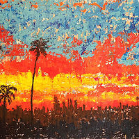 Acrylic painting la sunset by Jeffrey Newman