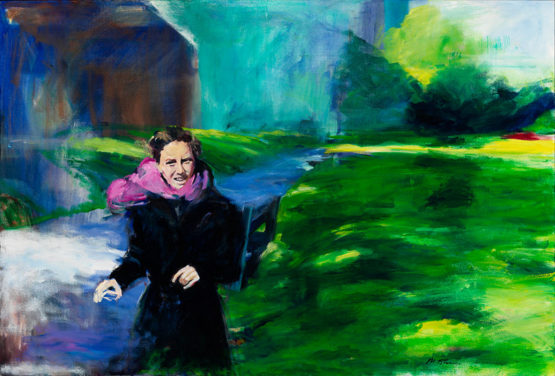 Oil painting woman in the park by Madeline Shea