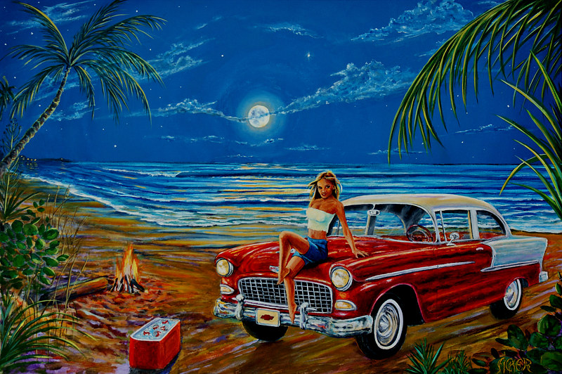 Oil painting 55 Chevy by Richard Ficker