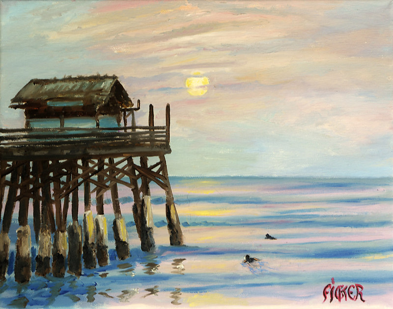 Oil painting Pier Moon-rise   by Richard Ficker