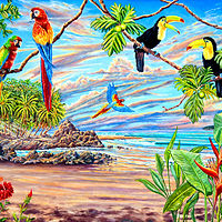 birds of paradise print - Copy (2) by Richard Ficker