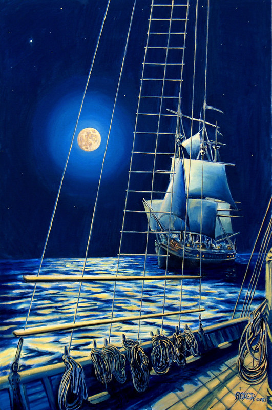 Oil painting Moon Lit Passage by Richard Ficker