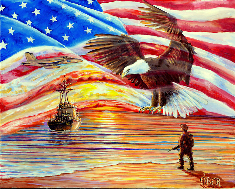 Oil painting Old Glory  by Richard Ficker